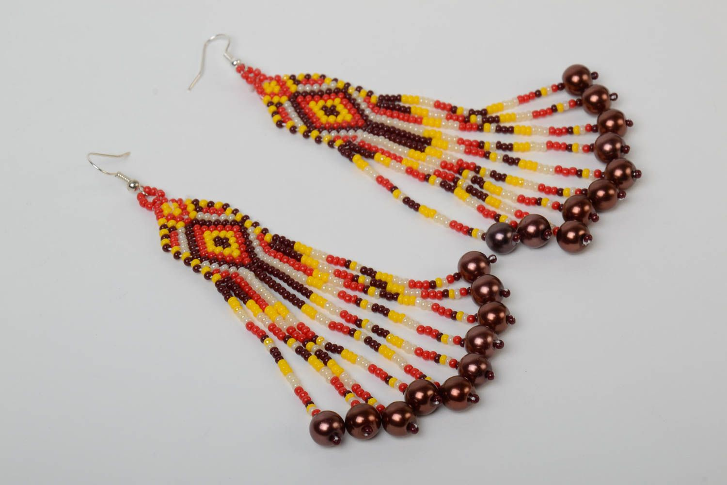Handmade massive designer long earrings with beaded fringe in ethnic style with hook type ear wires photo 2