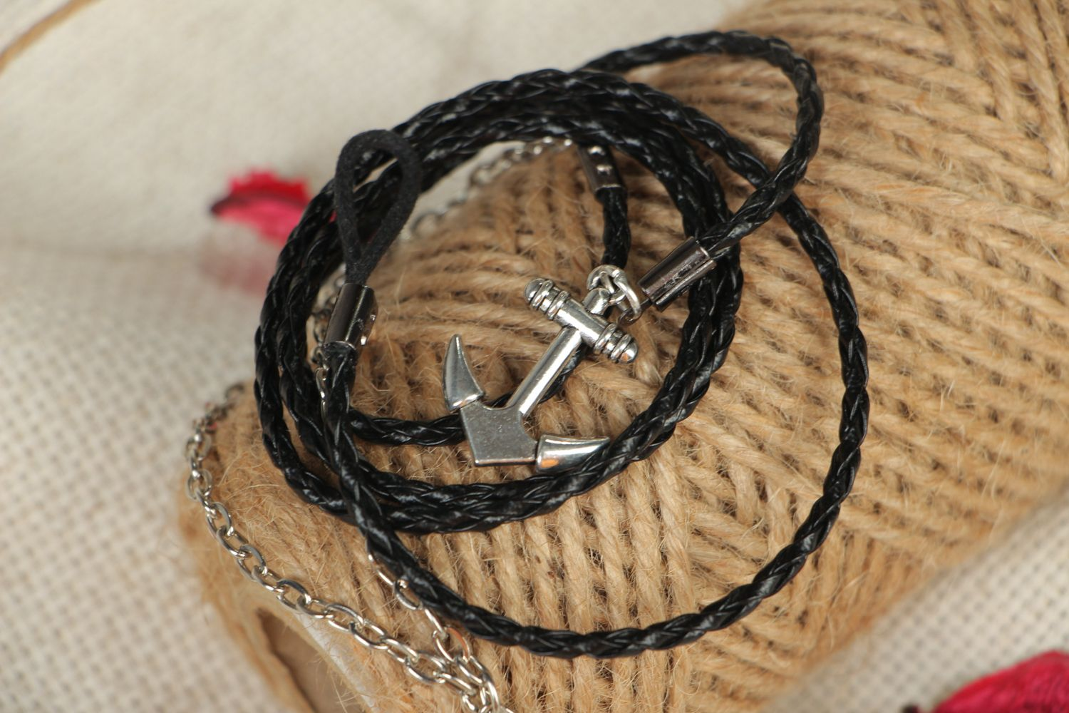 Handmade woven bracelet made of artificial leather Anchor photo 4