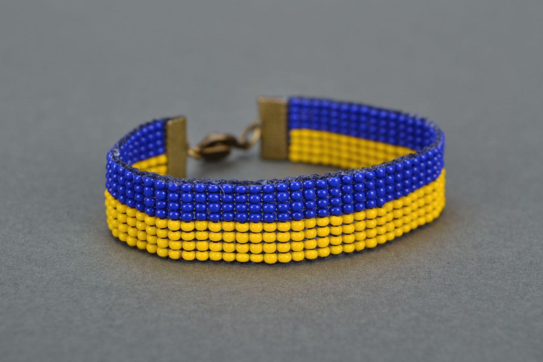 Yellow-blue bead bracelet photo 4