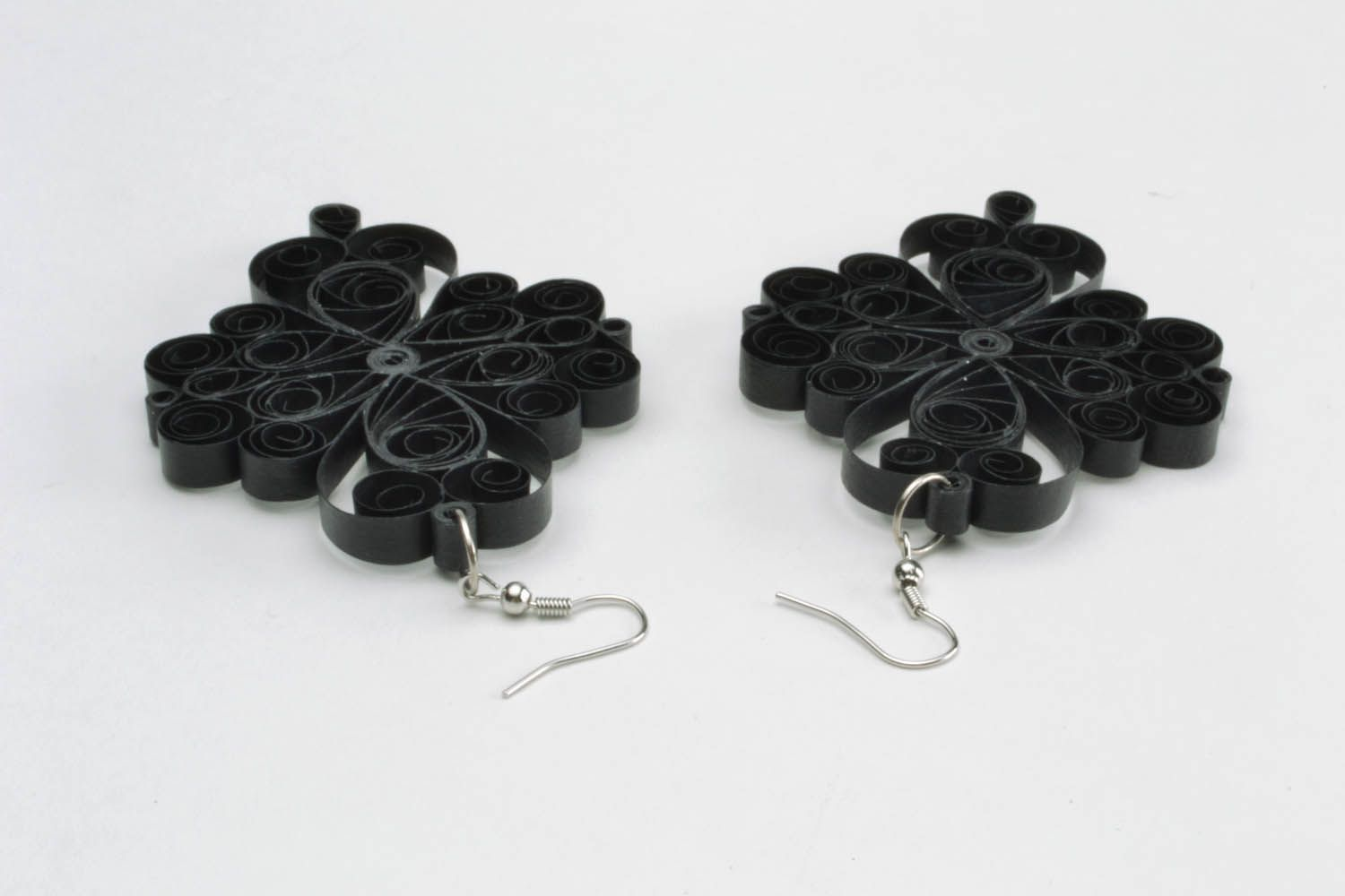 Handmade lace black earrings photo 3