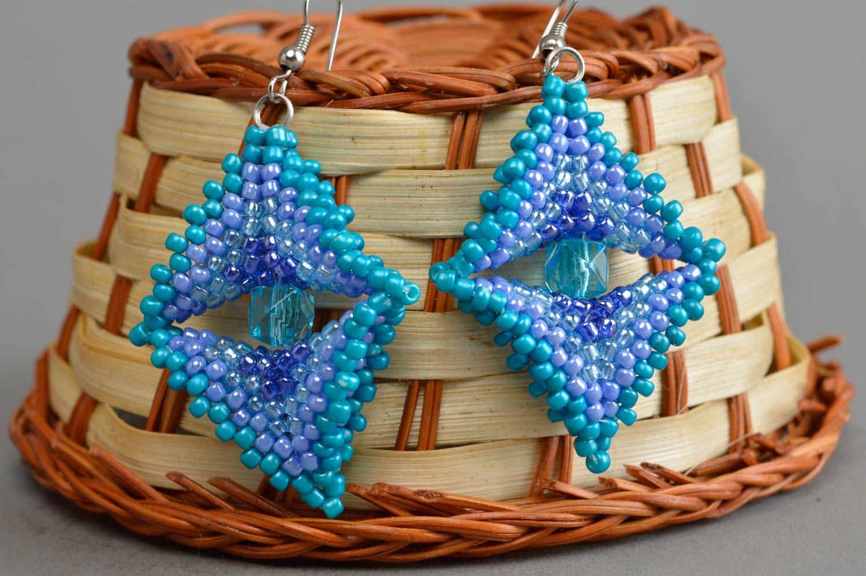 Massive blaue handgemachte Ohrringe aus Glasperlen für stilvolle Damen Quadrate foto 1