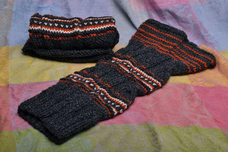 Dark woolen legwarmers photo 5