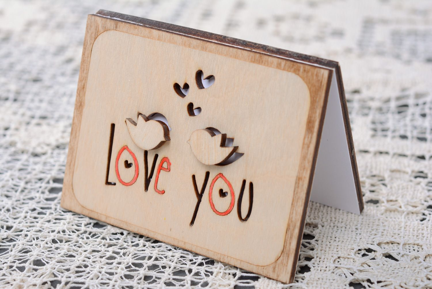 Wooden St. Valentine's day greeting card photo 1