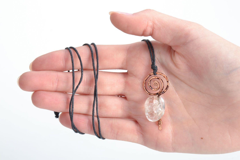 Wire Wrap Anhänger mit Naturstein Bergkristall foto 5