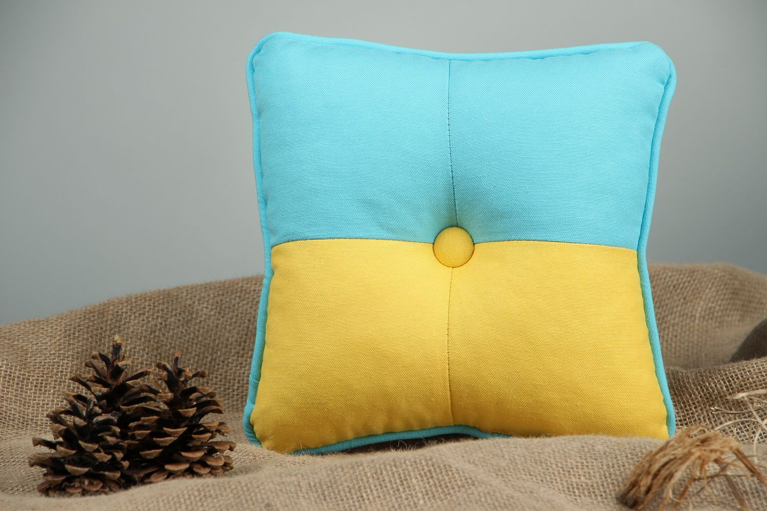 Pillow made in colors of the Ukrainian flag - MADEheart.com