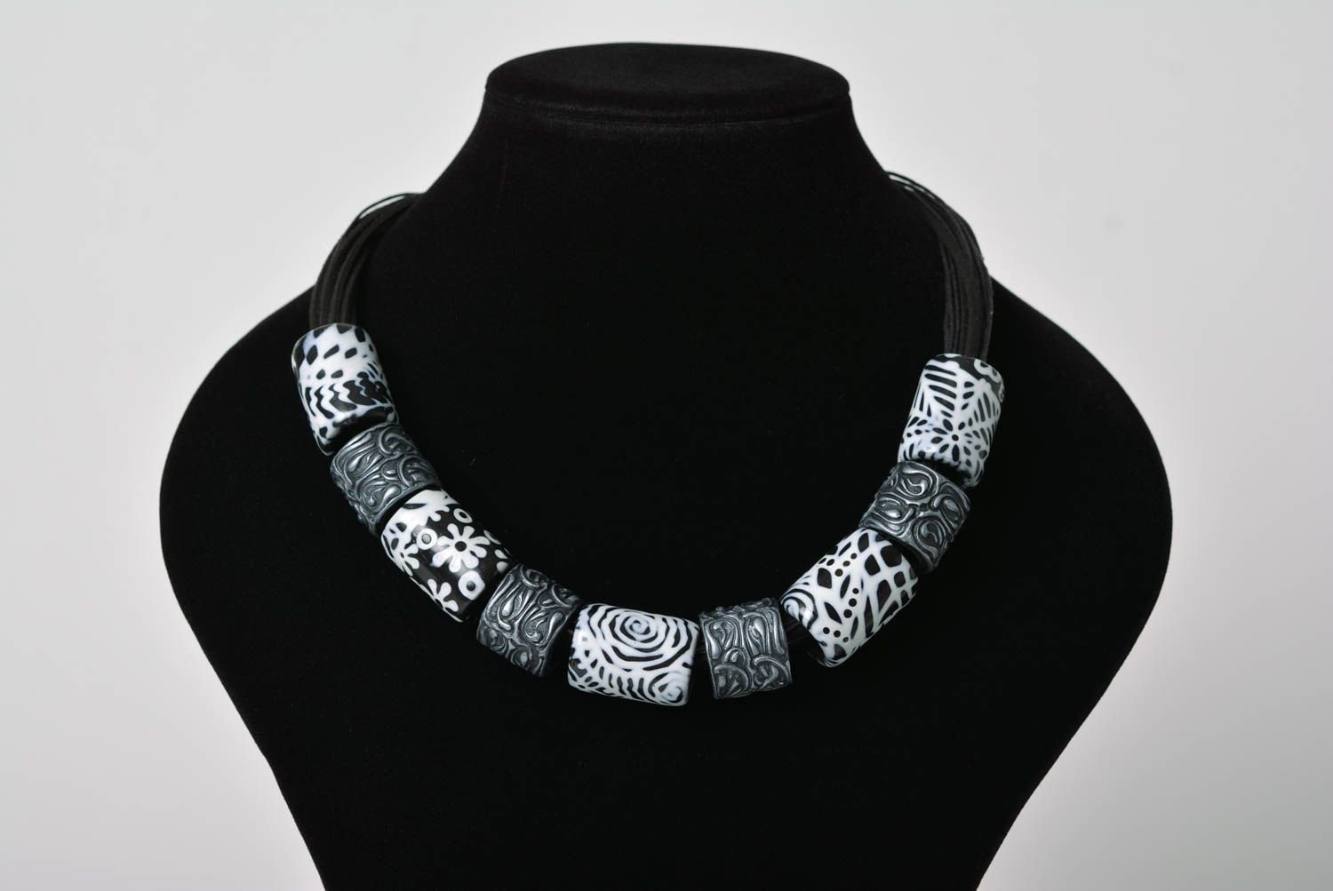 Black and white beads Fimo jewelry Polymer clay beads Hand rolled clay beads Handmade necklace Dutch design