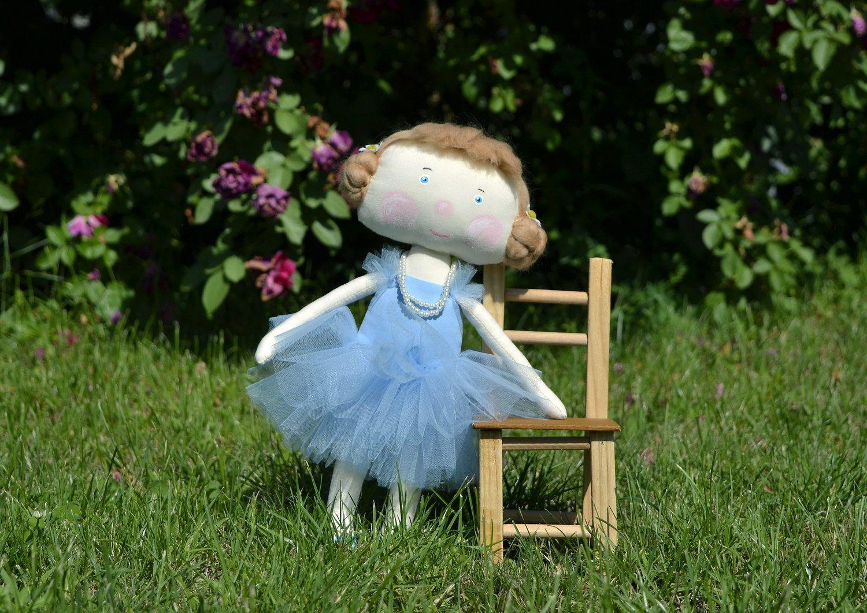 Fabric doll Girl in blue tutu photo 5