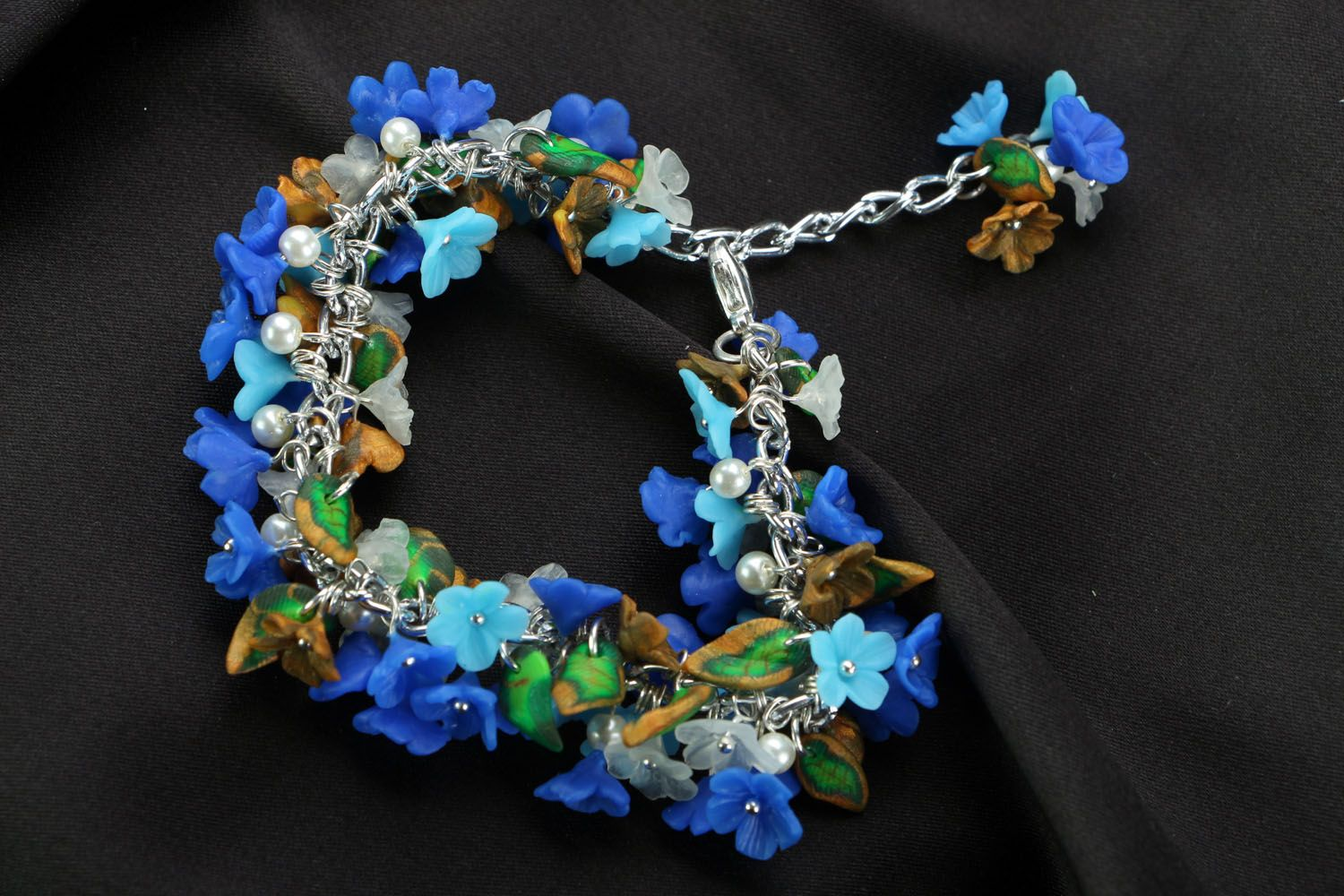 Polymer clay bracelet Forget-me-not photo 2