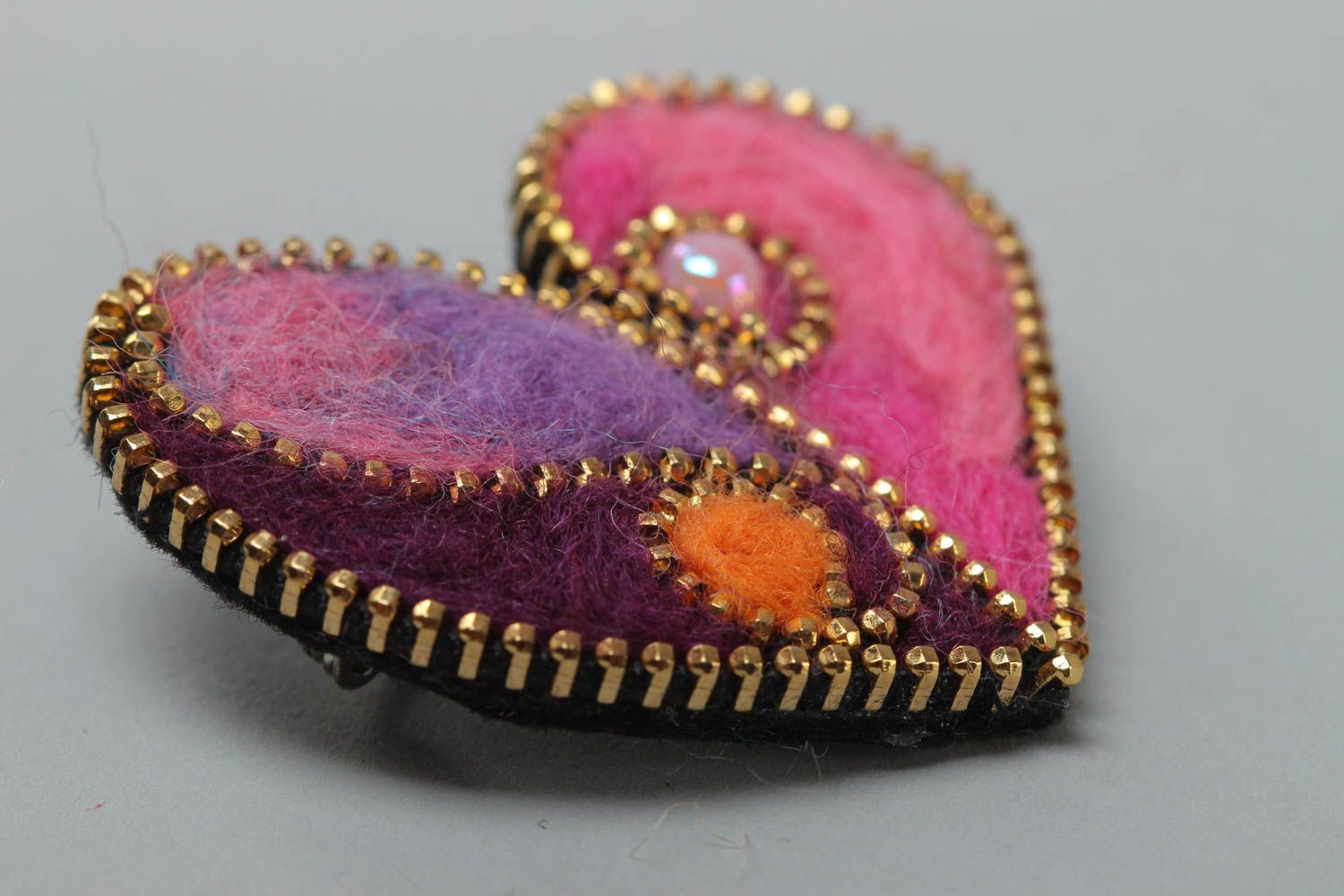 Bright brooch with zipper decor made of felted wool Heart present for girl photo 3