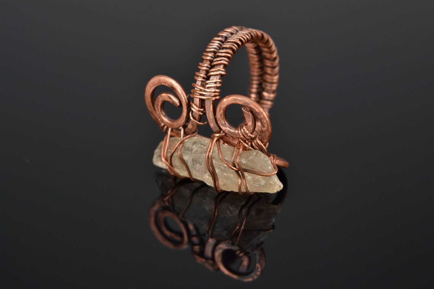 MADEHEART > Copper wire wrap ring with citrine