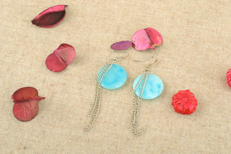 Türkisblaue Ohrringe mit Kunststoff Perlen foto 5