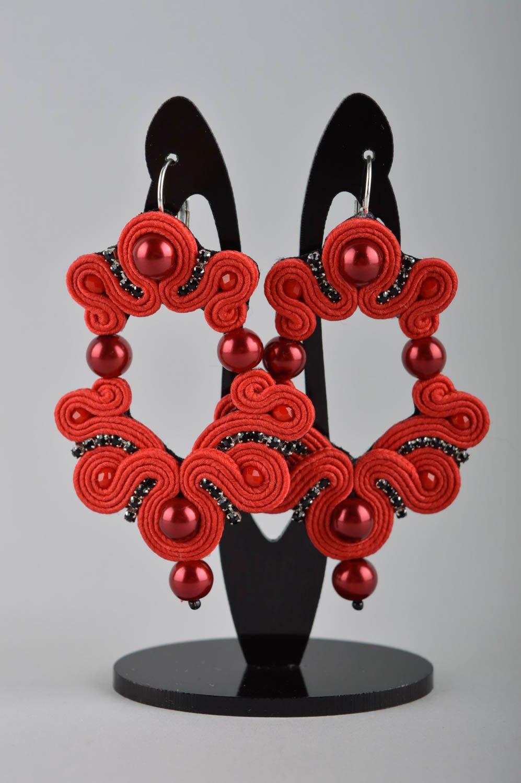 Unusual handmade soutache earrings beaded earrings artisan jewelry designs photo 2