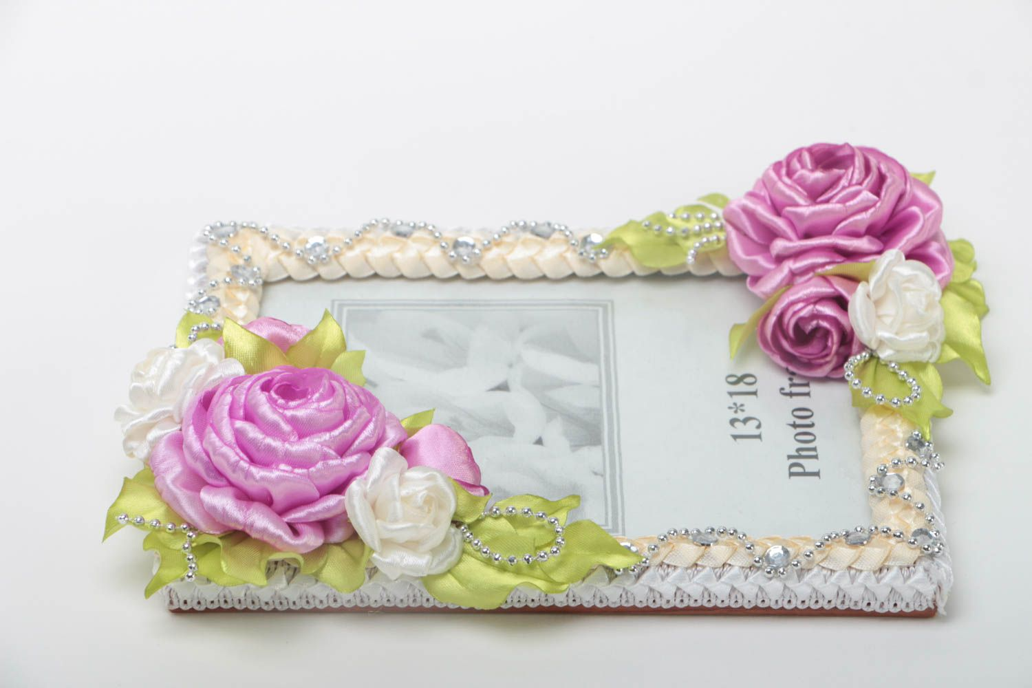 Handmade wooden photo frame with textile flowers interior decorating gift ideas photo 2