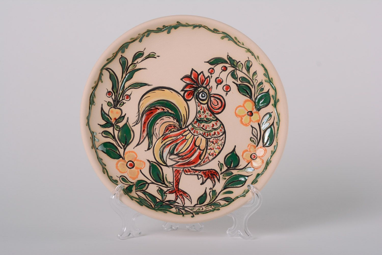 desktop decoration Decorative handmade clay plate with glaze painting Rooster interior decor ideas - MADEheart. & MADEHEART u003e Decorative handmade clay plate with glaze painting ...
