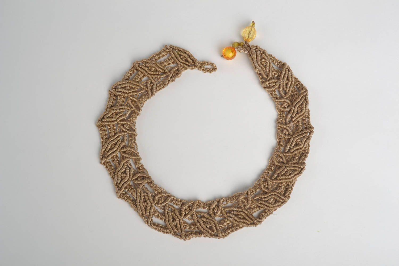 Beautiful brown necklace stylish textile accessory handmade designer nekcace photo 2