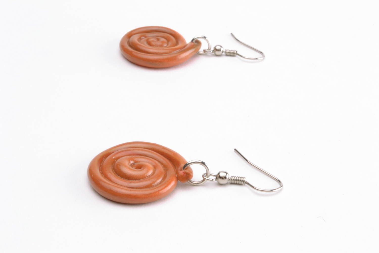 Polymer clay earrings Spiral photo 3