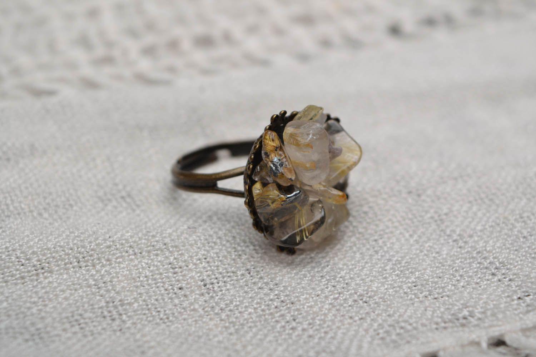 Metal ring with quartz  photo 1
