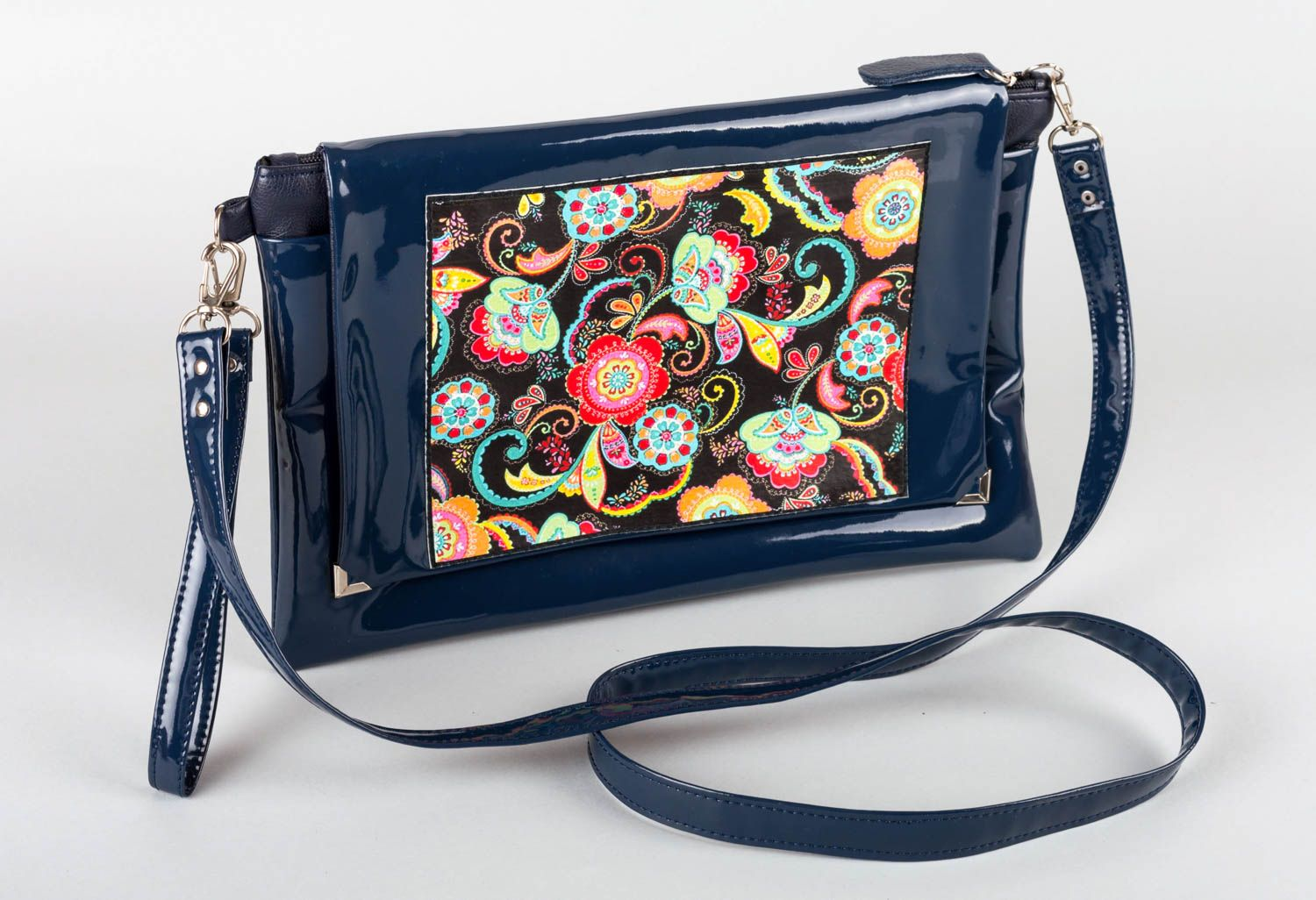 Bag made of artificial leather handmade lacquered clutch colorful accessories photo 1