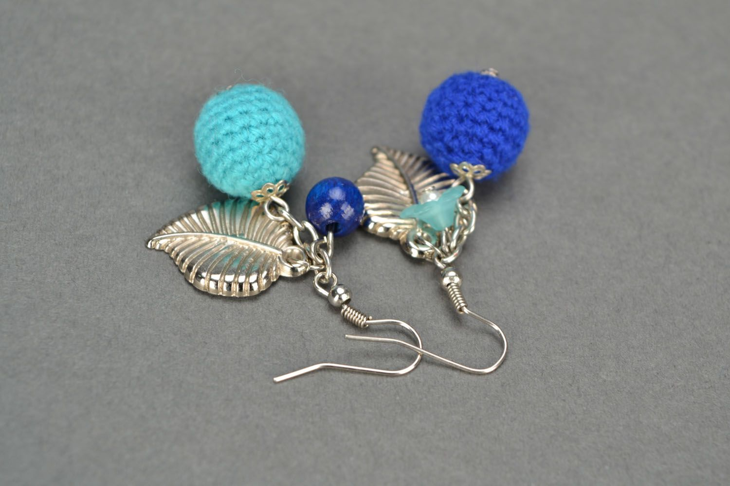 Crocheted earrings Blue Wonder photo 4