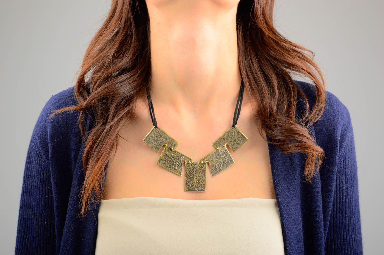 Handmade unusual jewelry metal designer accessories stylish beautiful necklace photo 1