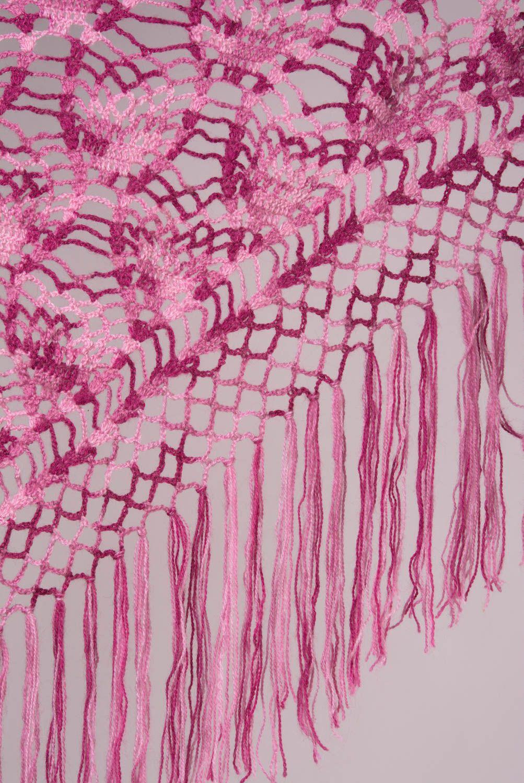 Chal de lana artesanal tejido a dos agujas de mujer calado morado foto 3