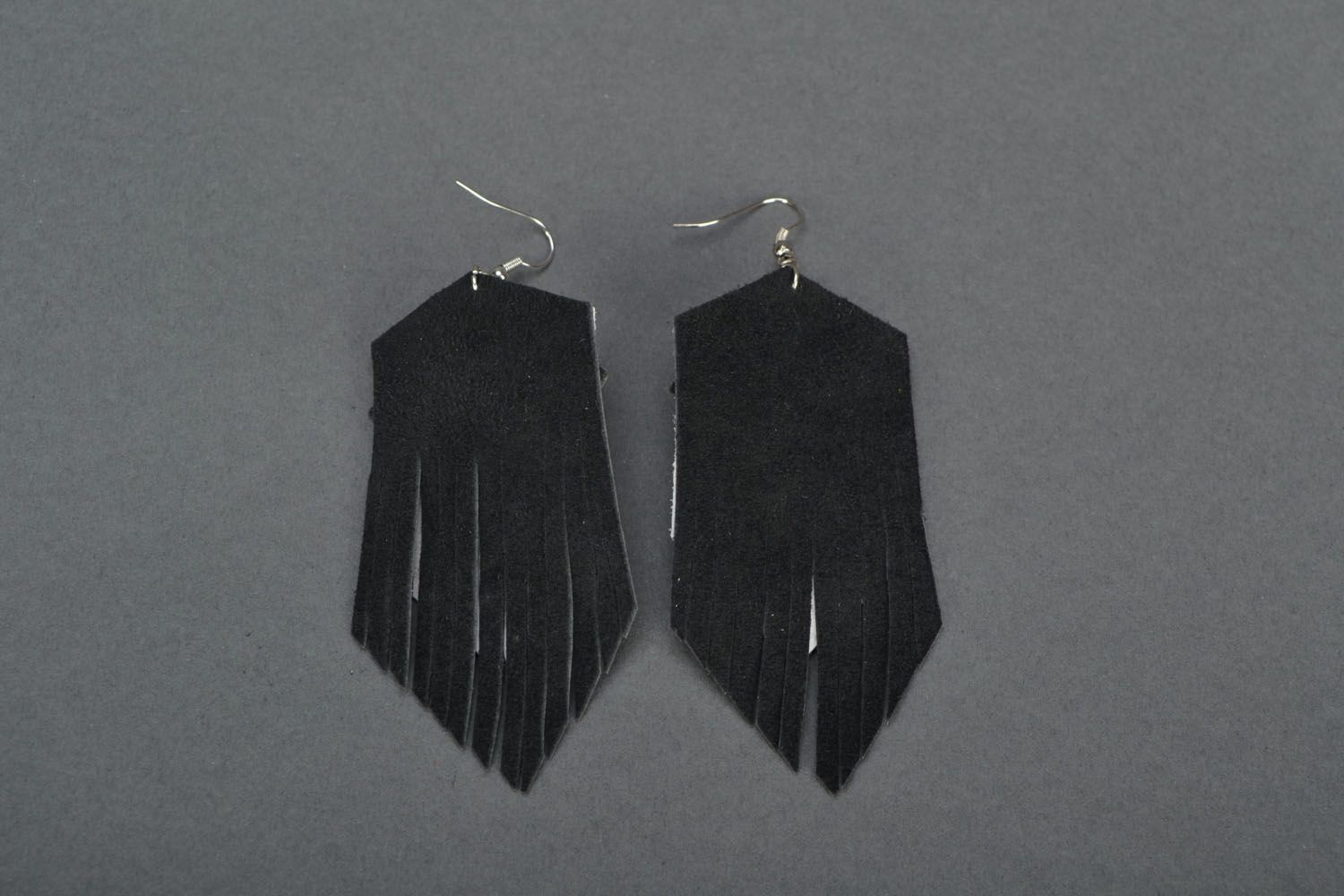 Leather earrings with studs  photo 4