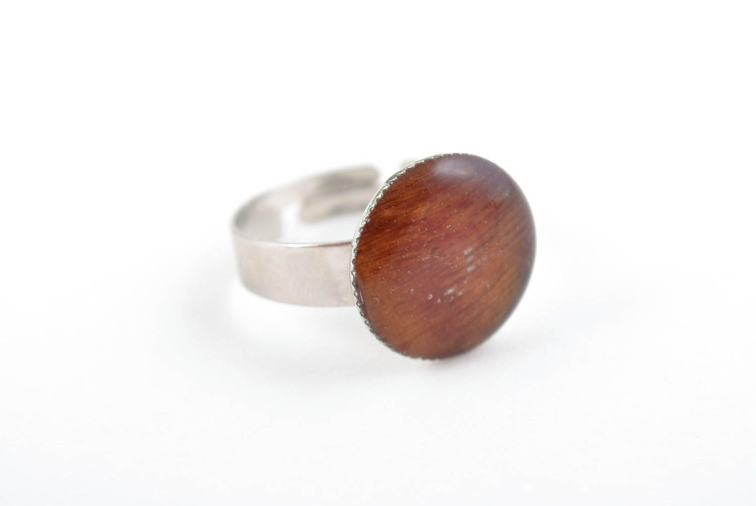 Round-shaped handmade stylish brown ring with epoxy resin adjustable size photo 5