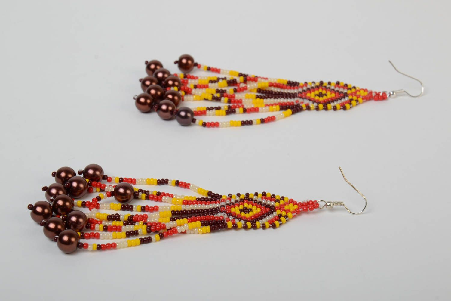 Handmade massive designer long earrings with beaded fringe in ethnic style with hook type ear wires photo 3