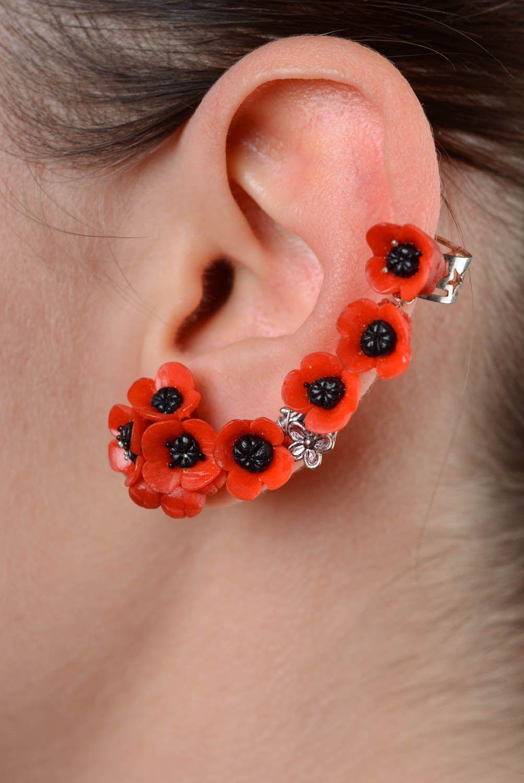 Handmade cuff earrings Poppies photo 3