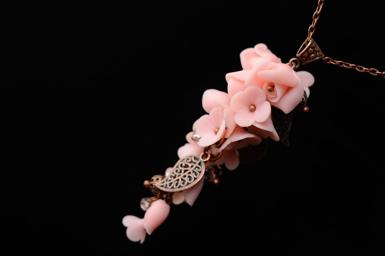 Polymer clay pendant Tender Flowers photo 3