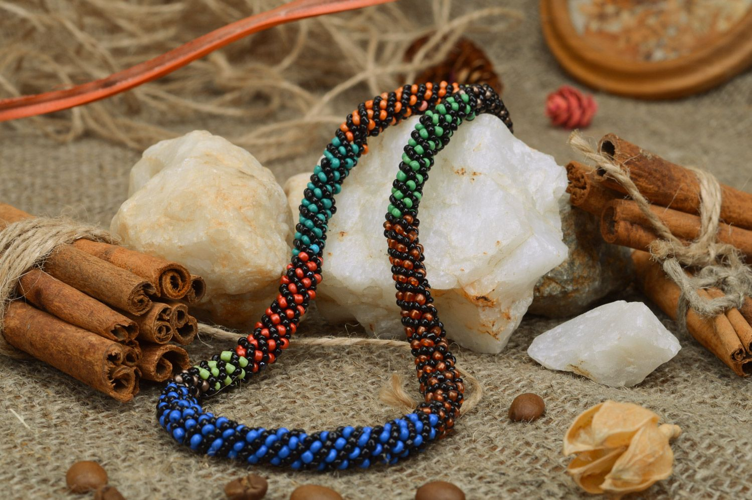 Handmade designer colorful beaded cord necklace Savanna for elegant ladies photo 3