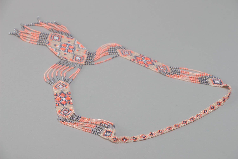 Beautiful pink handmade designer beaded gerdan necklace woven of Czech beads photo 4