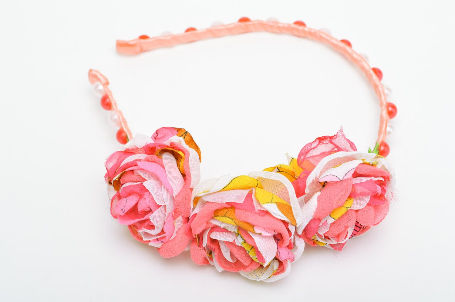 Feminine handmade headband with fabric flowers and beads in pink color palette photo 3