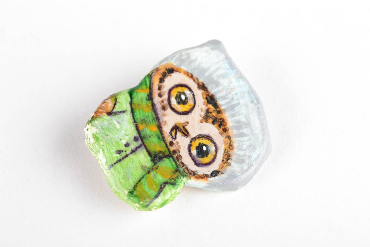 Lovely polymer clay brooch Owl photo 2