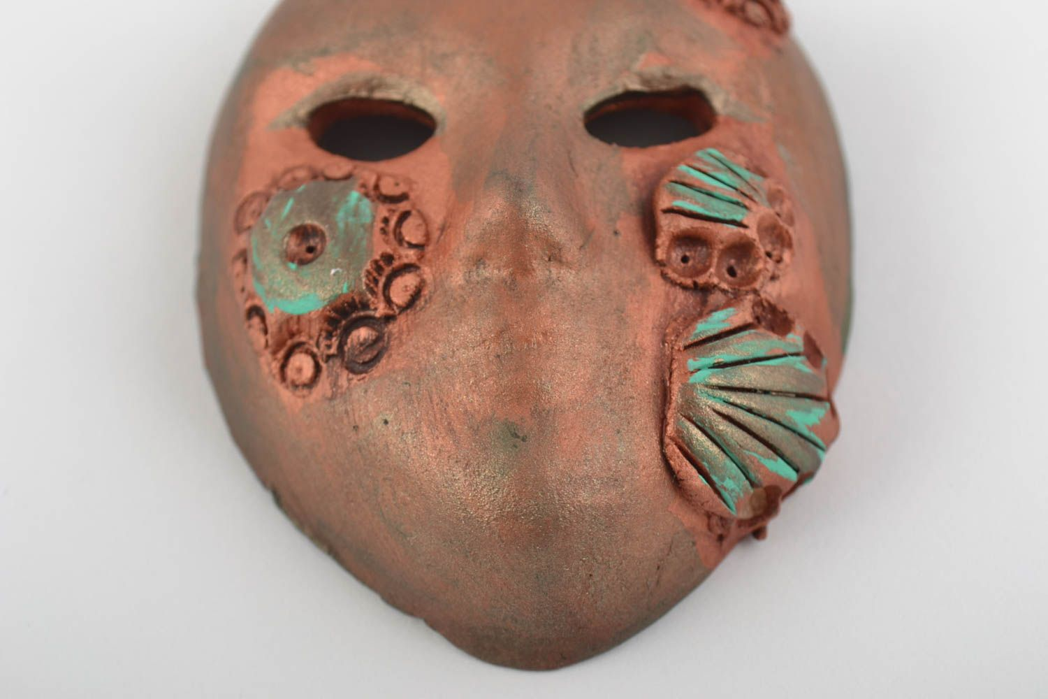 Handmade fridge magnet in shape of souvenir mask made of clay of bronze color photo 4
