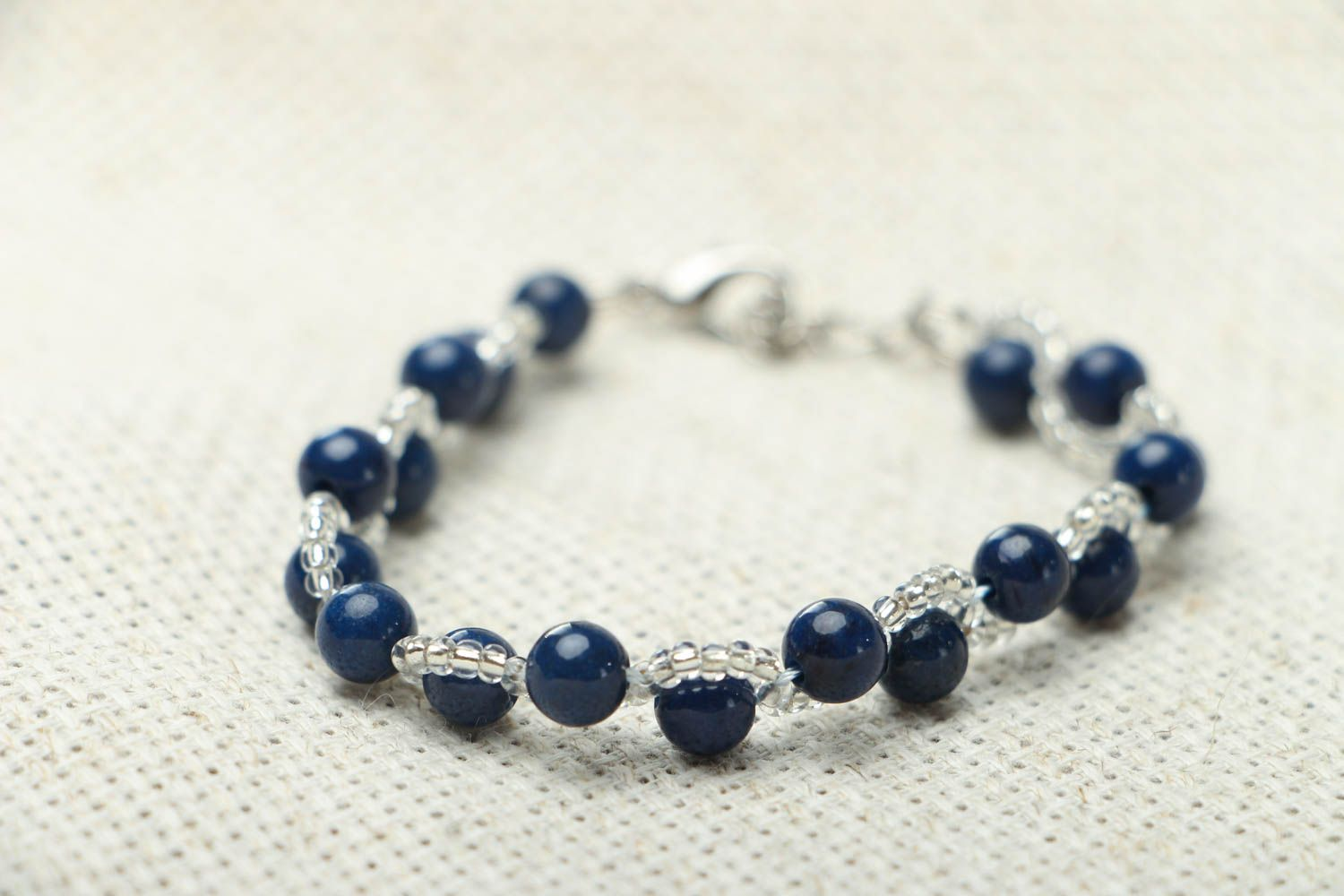 Thin bracelet with natural stone photo 2