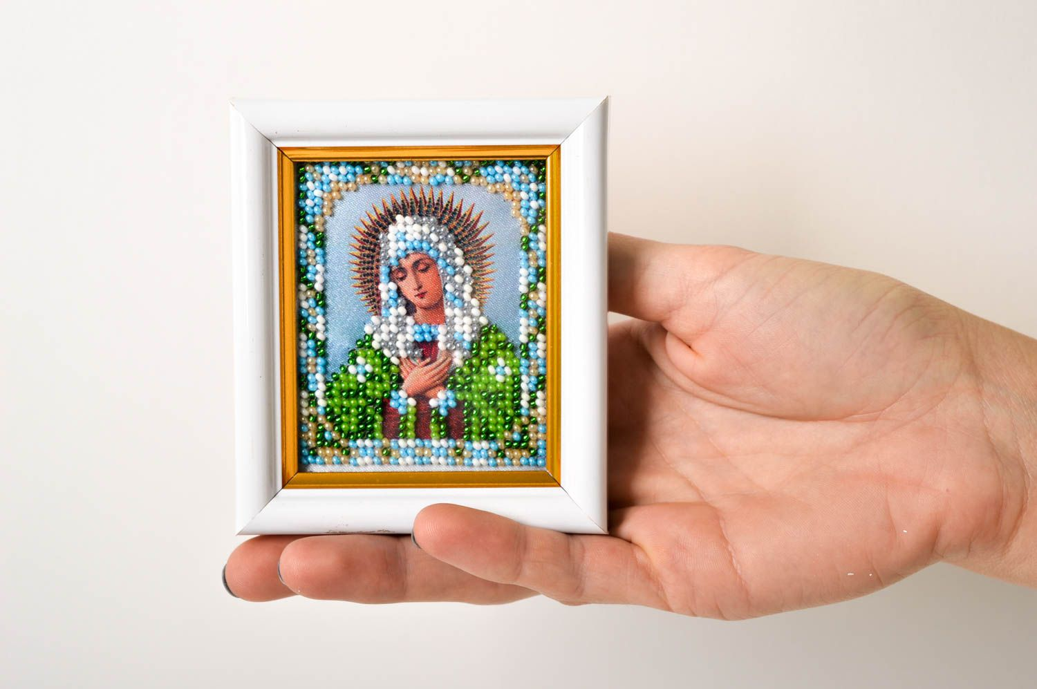 Handmade beautiful icon embroidered icon for home designer home amulet photo 6