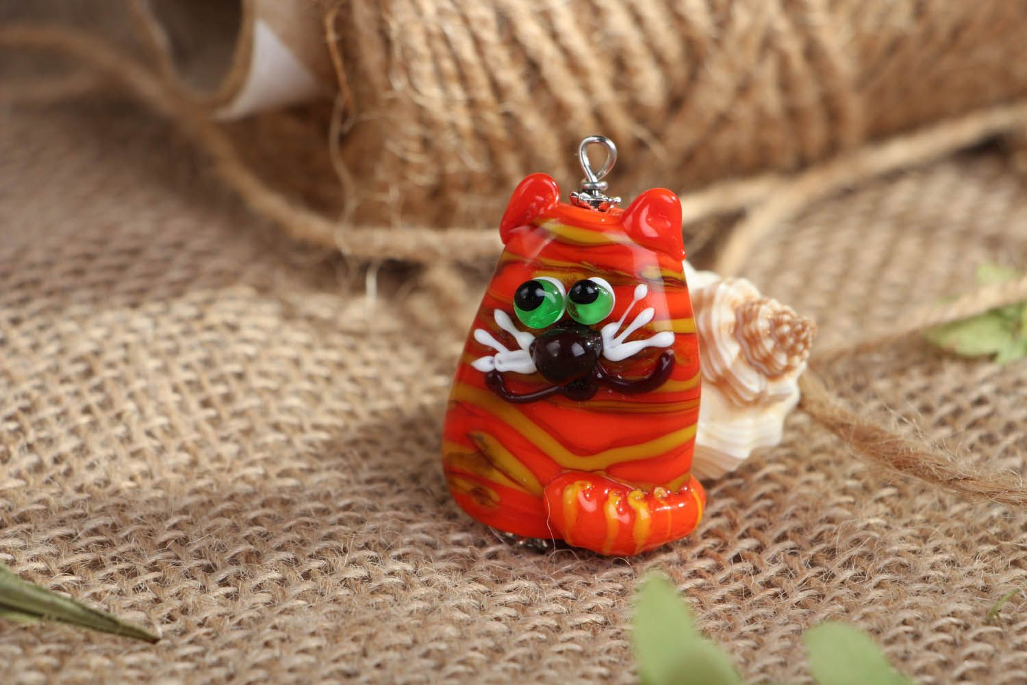 Handmade glass pendant Ginger Cat photo 4