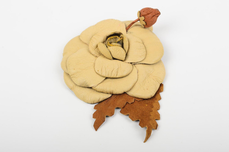 Handmade leather brooch designer flower brooch unusual elegant brooch photo 2