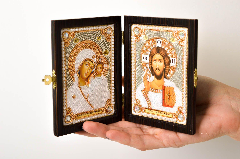 Handmade beautiful icon embroidered family icon religious housewarming gift photo 5