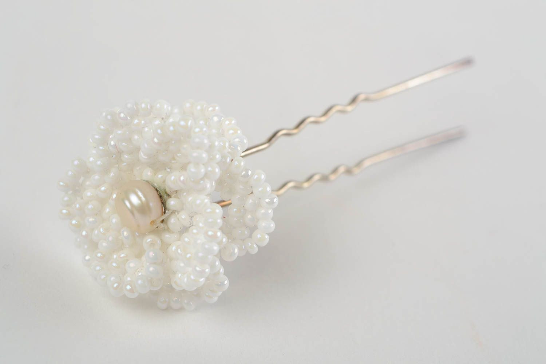 Beautiful handmade white beaded flower hairpin for modeling hair styles photo 4