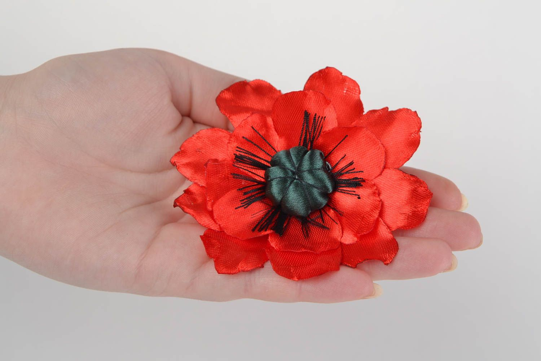 Handmade designer bright satin ribbon flower brooch Red Poppy present for women photo 2