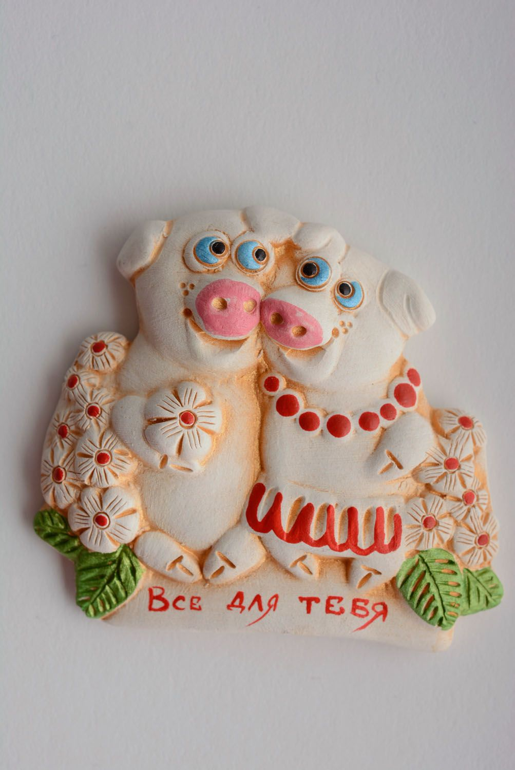 Ceramic fridge magnet Pigs photo 1