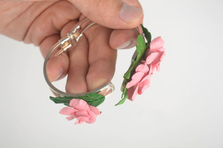 Браслет ручной работы украшение из холодного фарфора браслет с цветами розовый фото 5