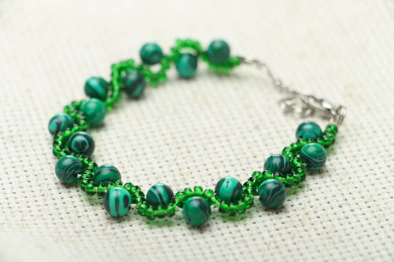Malachite stone bracelet photo 2