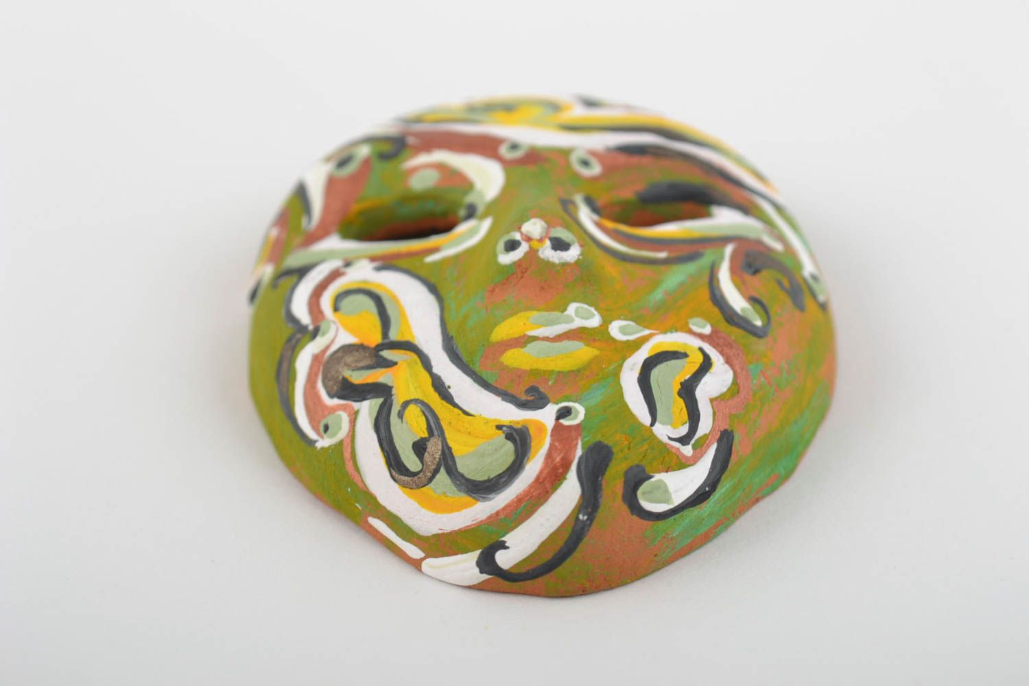 Handmade bright fridge magnet in shape of carnival mask made of clay  photo 5