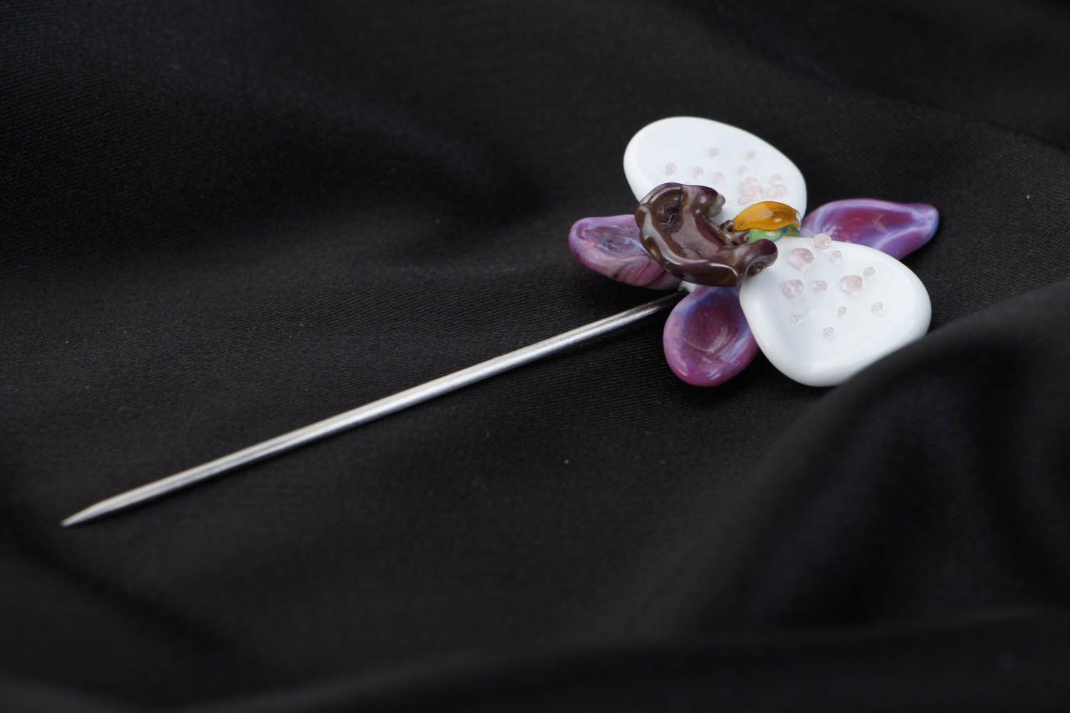 Designer glass brooch Orchid photo 2