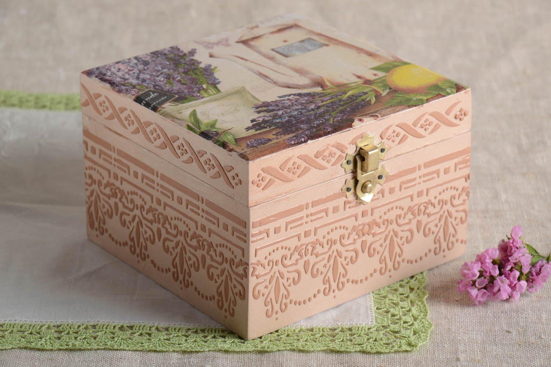 Madeheart joyero de madera decoupage con lavanda estuche - Como decorar una caja de metal ...