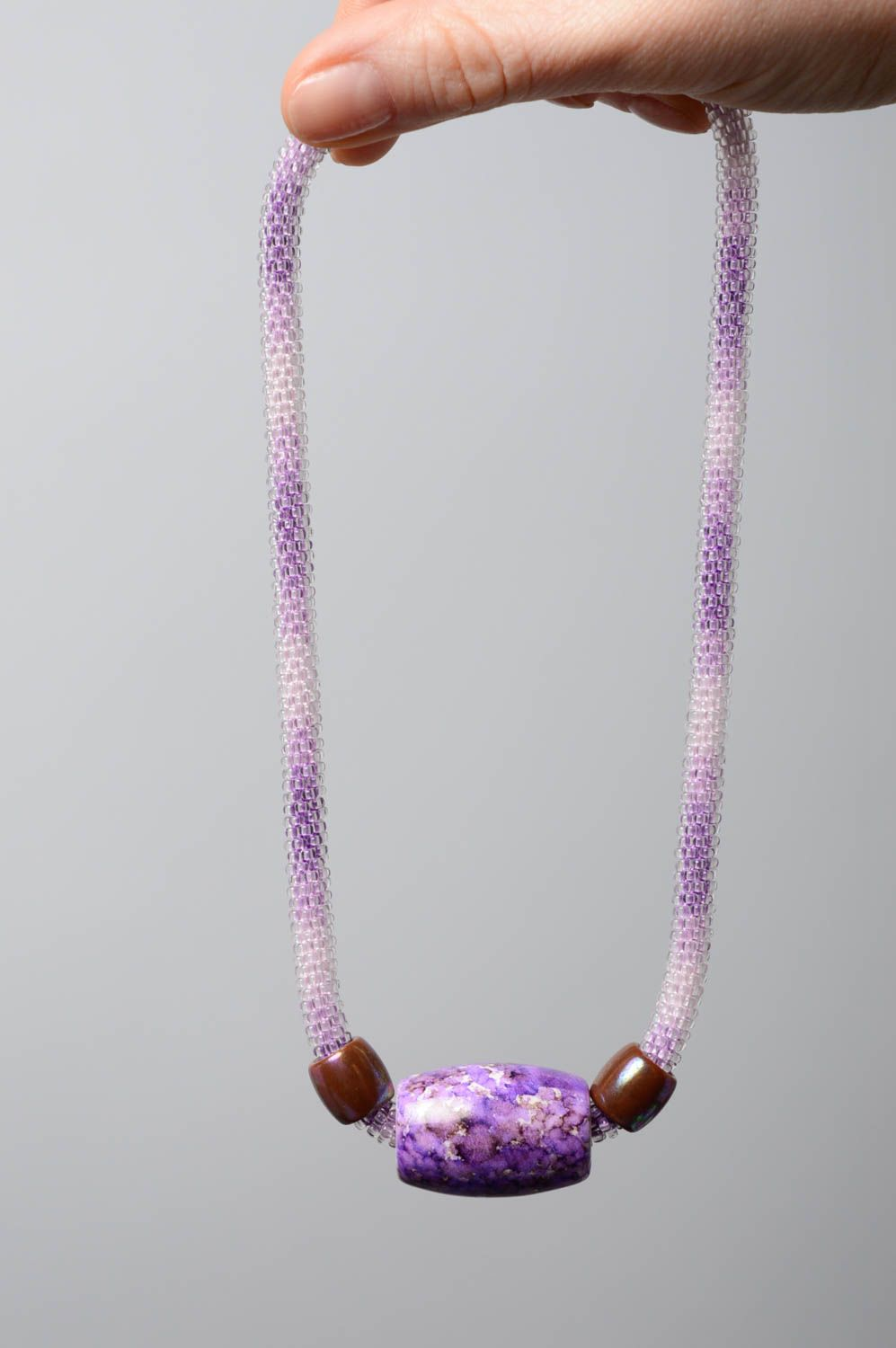 Violet beaded cord necklace photo 4
