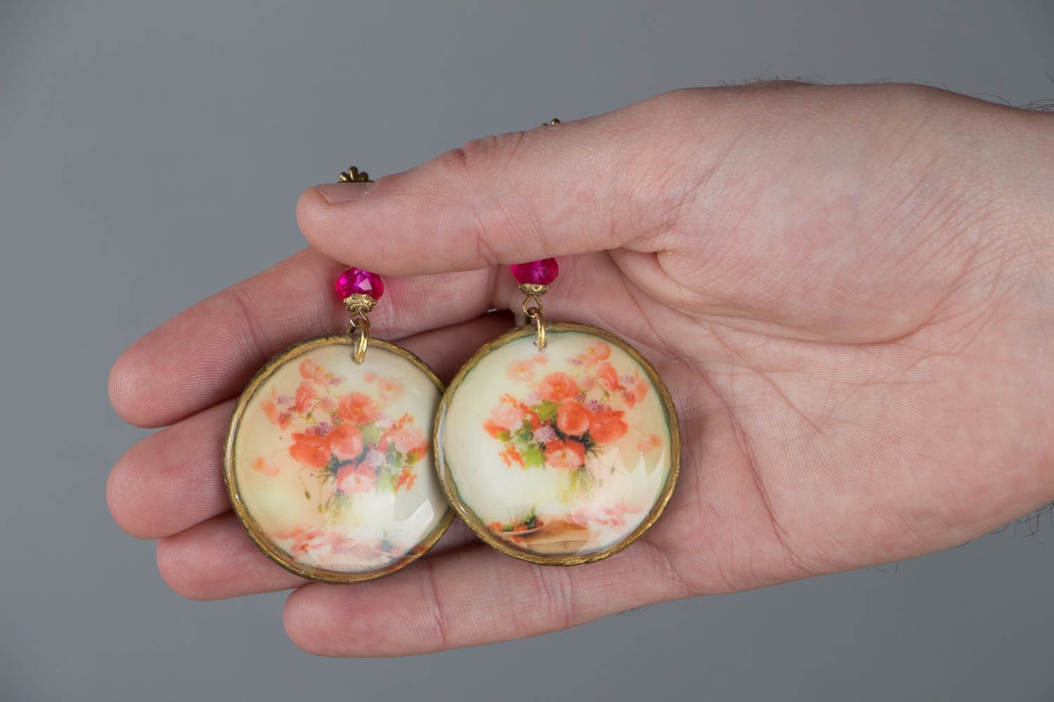 Vintage earrings made using decoupage technique photo 5
